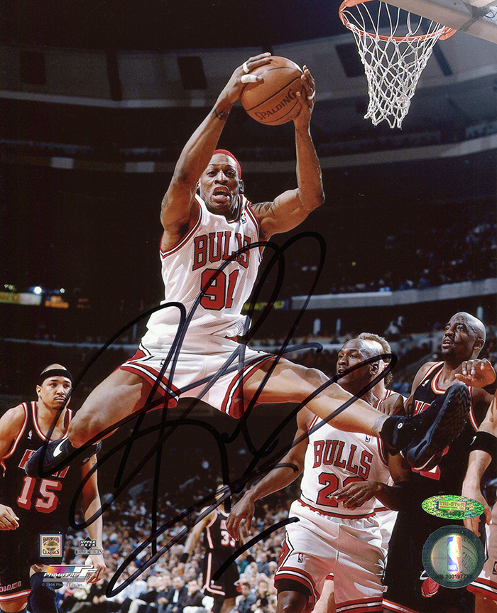 Dennis Rodman Autographed Chicago Bulls Mid Air Dunking