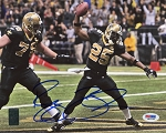 Reggie Bush Autographed New Orleans Saints Celebrating TD 8x10 Photo