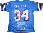 Earl Campbell Autographed Houston Oilers Stat Jersey Inscribed HOF 91