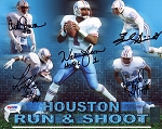 Houston Run & Shoot Autographed Oilers 8x10 Photo - Warren Moon & 4 More