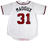 Greg Maddux Autographed Atlanta Braves Replica Jersey Inscribed HOF 14