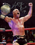 Kurt Angle Autographed Holding Championship Belt 8x10 Photo Inscribed Gold 96