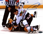 Andrew Shaw Autographed Chicago Blackhawks 2013 Stanley Cup Finals Fight 8x10 Photo