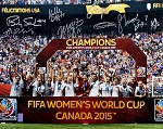 USA Women's Soccer Team Autographed 2015 World Cup Champions 16x20 Photo