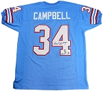 Earl Campbell Autographed Houston Oilers Jersey Inscribed HOF 91