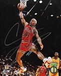 Dennis Rodman Autographed Bulls Dunking vs. Lakers 8x10 Photo