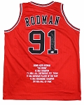 Dennis Rodman Autographed Chicago Bulls Stat Jersey