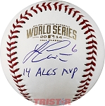Lorenzo Cain Autographed 2014 World Series Baseball Inscribed 14 ALCS MVP