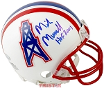 Mike Munchak Autographed Houston Oilers Mini Helmet Inscribed HOF 2001