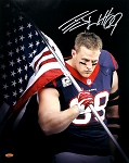 JJ Watt Autographed Houston Texans Flag 16x20 Photo