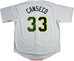 Jose Canseco Autographed Oakland A's Jersey Inscribed 86 AL ROY, 88 AL MVP