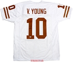 Vince Young Autographed Texas Longhorns White Custom Jersey