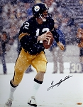Terry Bradshaw Autographed Pittsburgh Steelers Snow 16x20 Photo