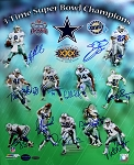 Dallas Cowboys Autographed 3x Super Bowl Champs 16x20 Photo - 11 Signatures