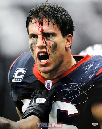 Brian Cushing Autographed Houston Texans Bloody Face 16x20 Photo