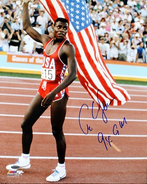 Carl Lewis Autographed USA Flag 16x20 Photo Inscribed 9X GM