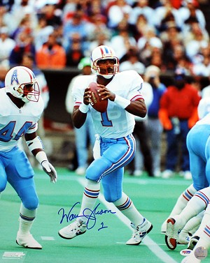 Warren Moon Autographed Houston Oilers in Pocket 16x20 Photo