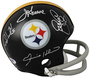 Steel Curtain Autographed Pittsburgh Steelers 2-Bar Mini Helmet