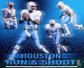 Houston Oilers Run & Shoot Autographed 16x20 Photo - Warren Moon & More