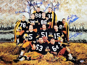 1962 Packers Offense Autographed 18x24 Photo - 11 Signatures