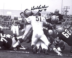 Dick Butkus Autographed Bears vs Packers 8x10 Photo Inscribed HOF 79
