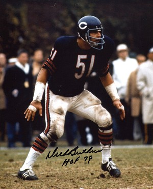 Dick Butkus Autographed Chicago Bears 8x10 Photo Inscribed HOF 79