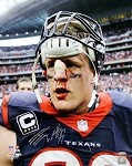 JJ Watt Autographed Houston Texans Bloody Face 16x20 Photo