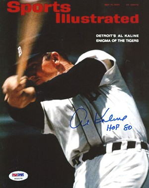 Al Kaline Autographed Detroit Tigers SI Cover Batting 8x10 Photo HOF 80