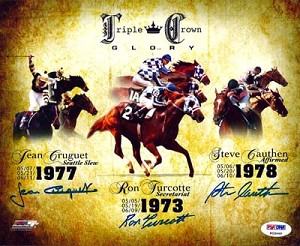 Triple Crown Winners Turcotte, Cauthen, Cruget Autographed 8x10 Photo