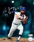 Pat Zachry Autographed New York Mets 8x10 Photo Inscribed 76 NL ROY