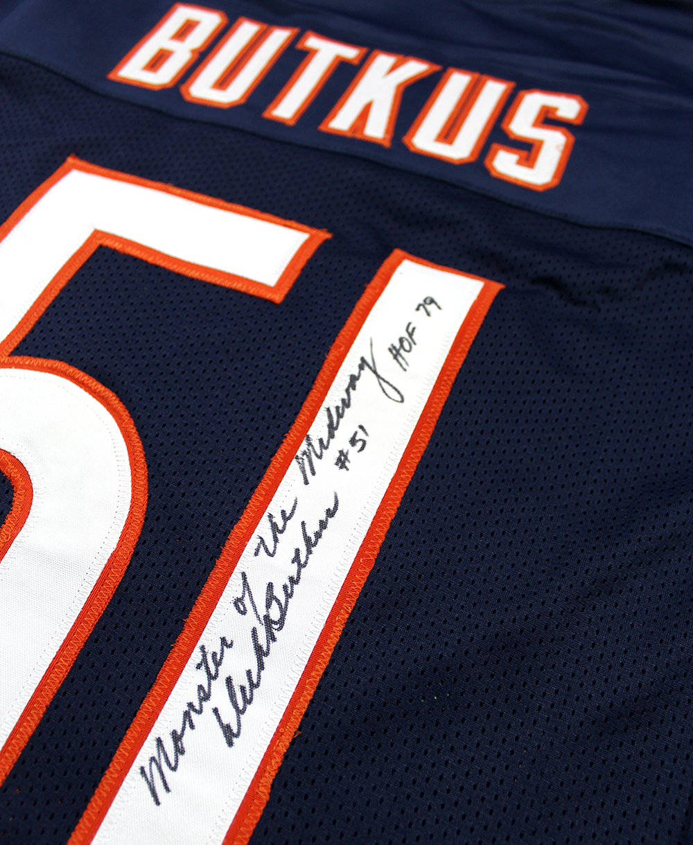 top fashion 7f600 b842f Dick Butkus Autographed Chicago Bears Custom Jersey Inscribed HOF 79,  Monster of the Midway