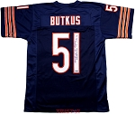 Dick Butkus Autographed Chicago Bears Custom Jersey Inscribed HOF 79, Monster of the Midway
