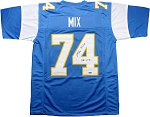 Ron Mix Autographed San Diego Chargers Custom Jersey Inscribed HOF 79