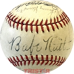 1943 NY Yankees Team Autographed Official AL Baseball with Ruth, Dickey & More