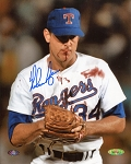 Nolan Ryan Autographed Texas Rangers Bloody Lip 8x10 Photo