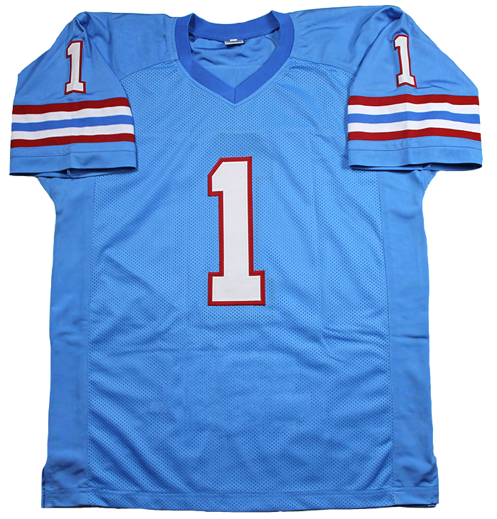 293ff3c89 Warren Moon Autographed Houston Oilers Jersey Inscribed HOF 06. Item  received may not be identical to the item pictured.