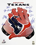 Houston Texans Autographed Logo Glove 16x20 Photo - 10 Signatures