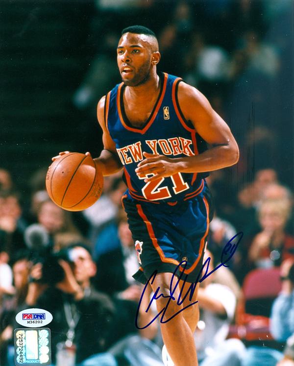 Charlie Ward Autographed New York Knicks Dribbling 8x10 Photo