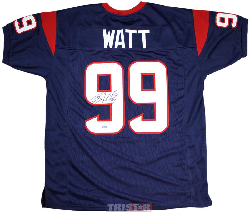 JJ Watt Autographed Houston Texans Blue Custom Jersey