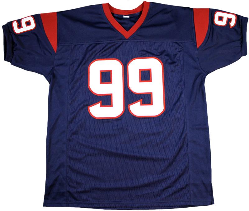 best cheap 55520 a17ba JJ Watt Autographed Houston Texans Blue Custom Jersey