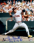 Len Barker Autographed Cleveland Indians 8x10 Photo Inscribed PG 5-15-81