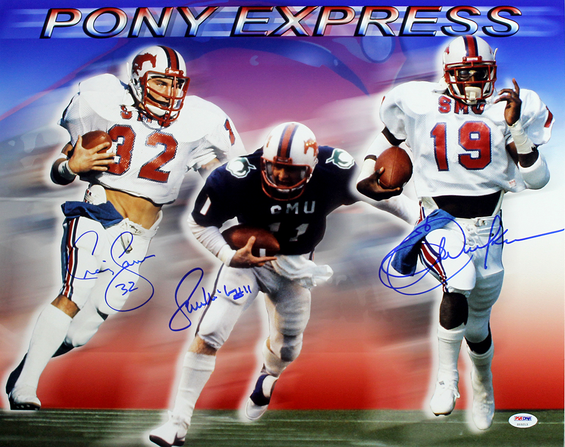 Pony Express Autographed Smu Mustangs 16x20 Photo