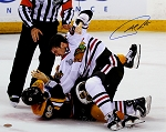 Andrew Shaw Autographed Chicago Blackhawks Stanley Cup Fight 16x20 Photo