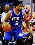 Jahlil Okafor Autographed Philalphia 76ers vs Wizards 16x20 Photo