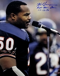 Mike Singletary Autographed Chicago Bears 11x14 Photo Inscribed Last Home Game