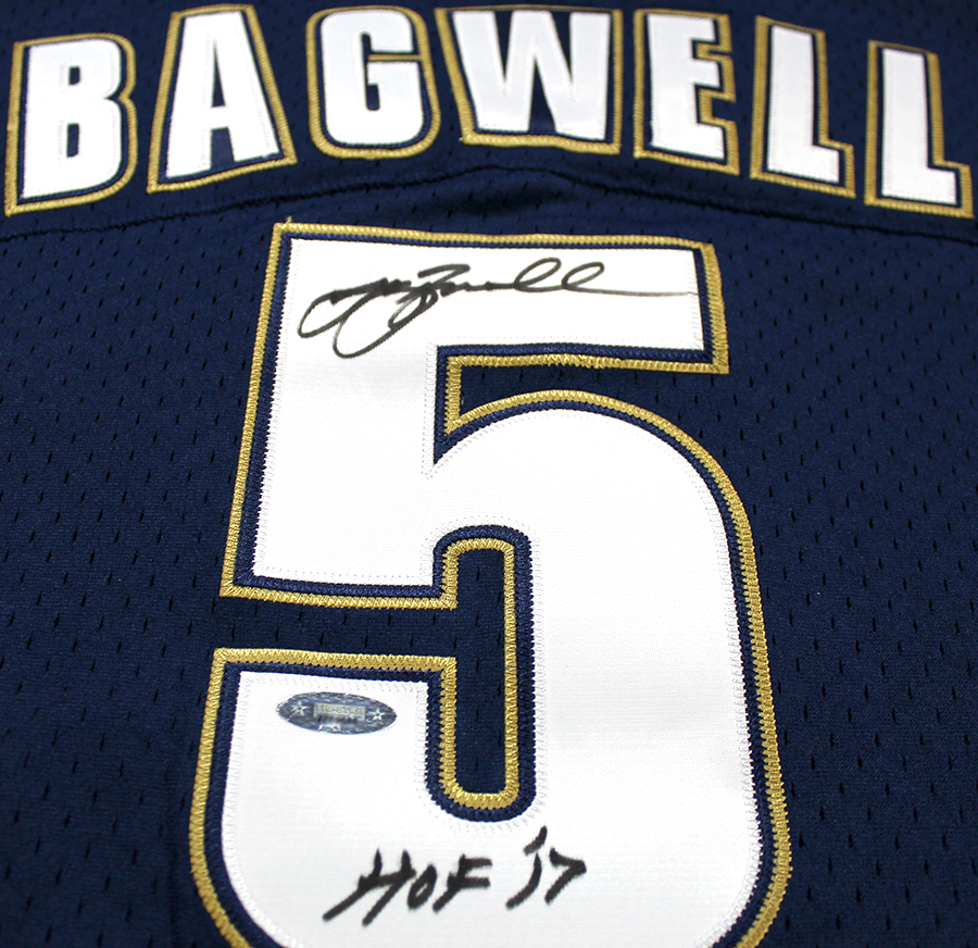 new product fa3af 0bd6f Jeff Bagwell Autographed Houston Astros M&N 1994 Throwback Navy Jersey  Inscribed HOF 2017