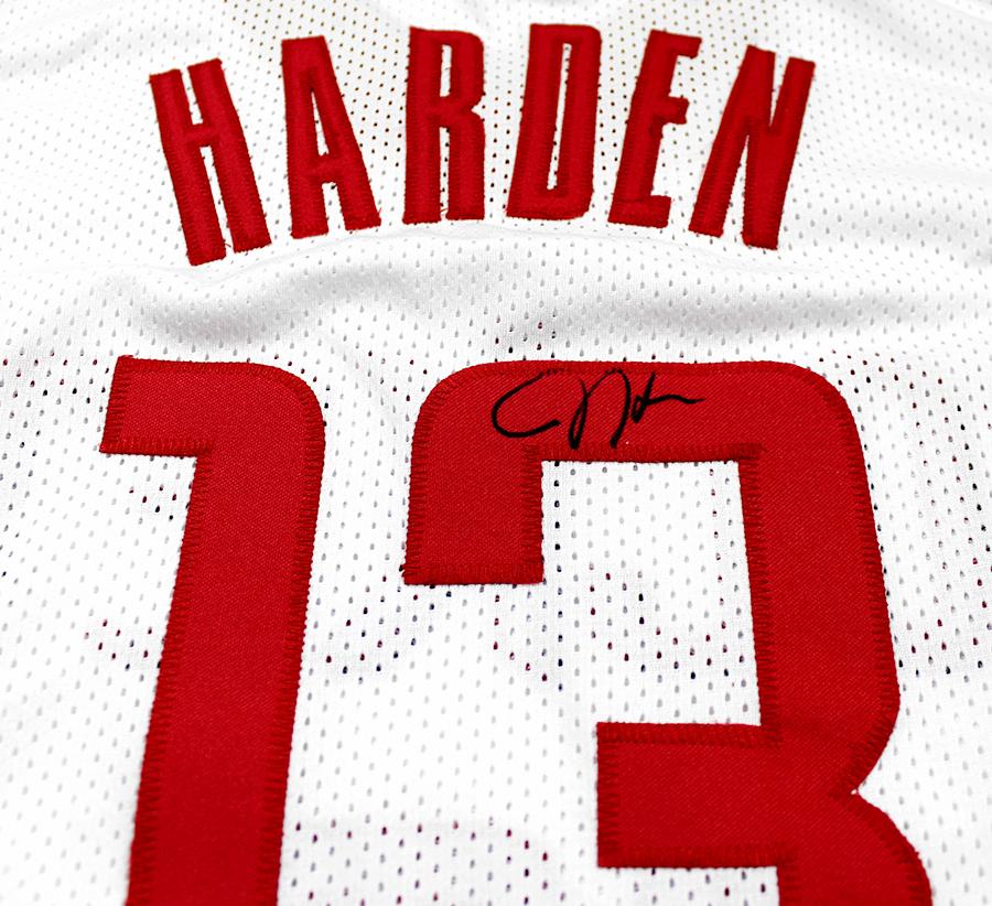 buy online a1b21 04f5b James Harden Autographed Houston Rockets White Custom Jersey