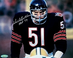 Dick Butkus Autographed Chicago Bears Close-up 8x10 Photo Inscribed HOF 79