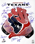 Houston Texans Autographed Glove 16x20 Photo with 19 Signatures