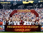USA Women's Soccer Team Autographed 2015 World Cup 16x20 Photo - 7 Signatures